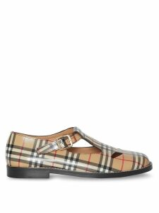 Burberry Vintage Check Leather T-Bar Shoes - Brown