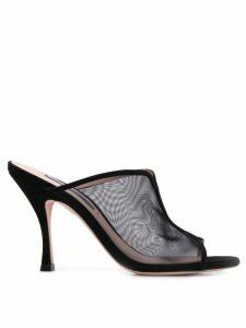 Stuart Weitzman black sheer sandals