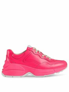 Gucci Rhyton fluorescent leather sneaker - PINK