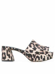 Ganni leopard print mules - Brown