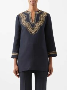 Prada - Round Neck Cashmere Blend Sweater - Womens - Dark Red