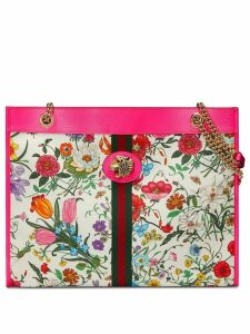 Gucci multicoloured large floral tote - PINK
