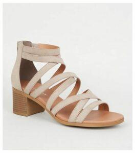 Light Brown Strappy Low Block Heel Footbed Sandals New Look