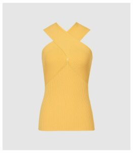 Reiss Dana - Cross Front Top in Yellow, Womens, Size XXL