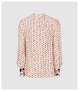 Reiss Kaya - Printed Blouse in White/red, Womens, Size 16