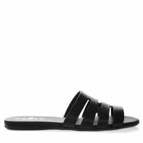 Hogan Valencia Black Leather Slider