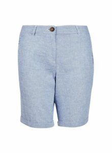 Womens Blue Stripe Knee Shorts With Linen, Blue