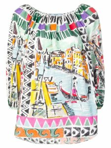 Prada off-the-shoulder Venice print blouse - Green