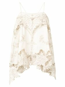 Erika Cavallini embroidered asymmetric top - NEUTRALS