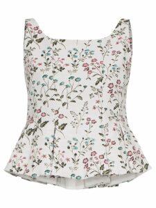 Erdem kelsie floral-print peplum hem top - NEUTRALS