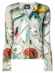 Boutique Moschino Pottery print V-neck cardigan - Neutrals