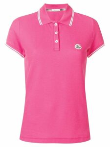 Moncler stripe trim polo shirt - PINK