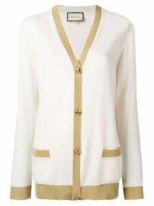 Gucci lurex detail cardigan - NEUTRALS