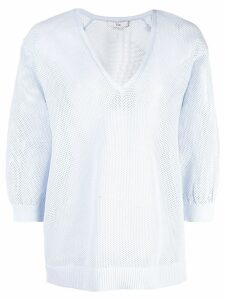 Tibi perforated v-neck top - Blue
