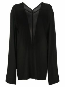 Rick Owens oversized sheer panel blouse - Black