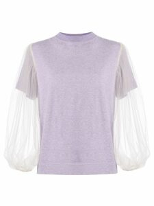 Tu es mon TRÉSOR tulle sleeve T-shirt - PURPLE