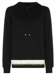 Moncler logo-hem cotton-blend hoodie - Black