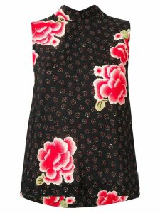 Simone Rocha floral sleeveless mandarin top - Black