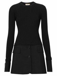 Burberry Tailored Hem Rib Knit Wool Mohair Dress - Black