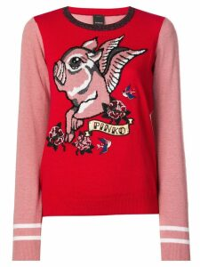 Pinko Flying Pig knitted sweater - Red