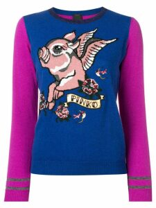 Pinko Flying Pig knitted sweater - Blue