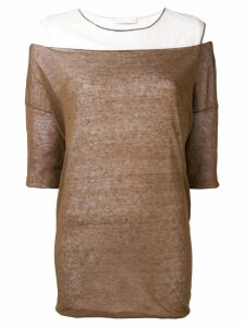 Fabiana Filippi contrast short-sleeve top - Brown