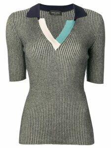 Roberto Collina ribbed colourblock polo top - Blue