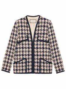 Gucci Houndstooth V-neck jacket - Blue