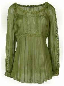 Alberta Ferretti sheer pleated blouse - Green