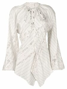Chloé lace-trimmed stripe shirt - NEUTRALS