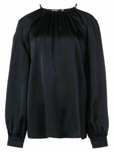 Rosetta Getty satin cold shoulder blouse - Blue
