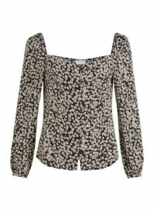 Womens Vila Black Square Neck Top - Multi Colour, Multi Colour