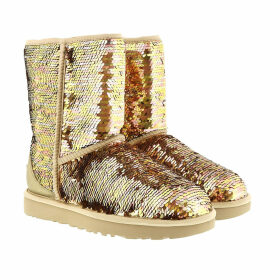 UGG Boots & Booties - W Classic Short Sequin Gold Combo - gold - Boots & Booties for ladies
