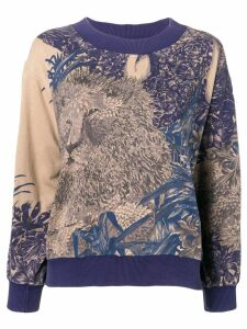 Salvatore Ferragamo Pre-Owned 1980's lion print sweatshirt - Blue