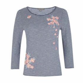 Striped Floral Embroidery Top