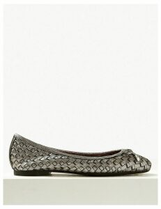 M&S Collection Wide Fit Leather Weave Ballet Pumps