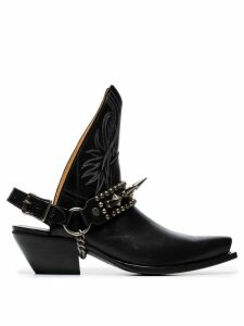 R13 black 25 backless leather cowboy boots