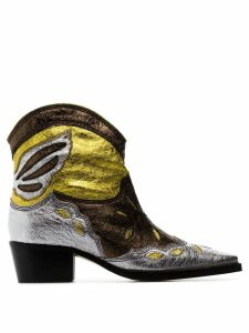 Ganni Meg 45 leather cowboy boots - Green