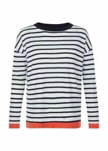 Amelia Linen Blend Sweater Ivory Navy XL