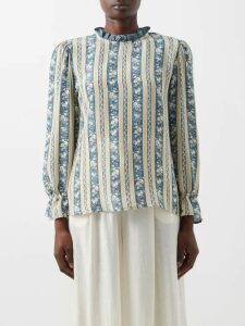 Burberry - Monogram-print Silk-blend Shirt - Womens - Beige Multi