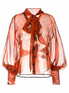 Petar Petrov snakeskin print neck-tied blouse - Red
