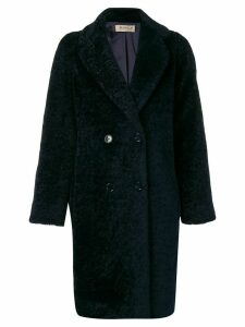 Blanca Vita textured double breasted coat - Blue