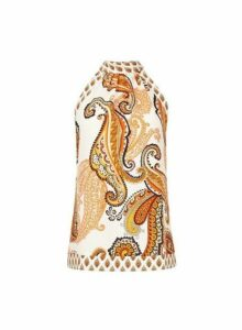 Womens Ivory Paisley Printed Halter Neck Top, Ivory