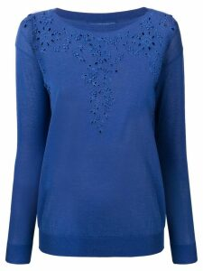 Ermanno Scervino embroidered knit sweater - Blue