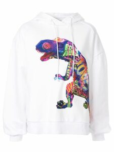 Juun.J dinosaur print hoodie - White
