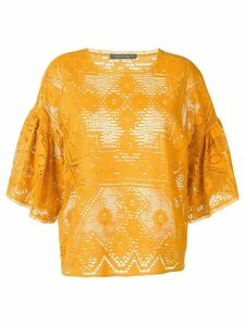 Alberta Ferretti lace panelled blouse - Yellow