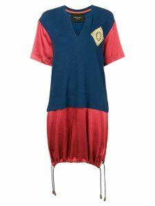 Mr & Mrs Italy colour-block long T-shirt - Blue