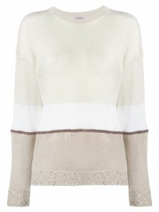 Brunello Cucinelli panelled sequin knitted jumper - NEUTRALS