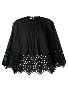 Giamba gathered embroidered swing blouse - Black