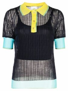 i-am-chen silk panelled polo top - Blue